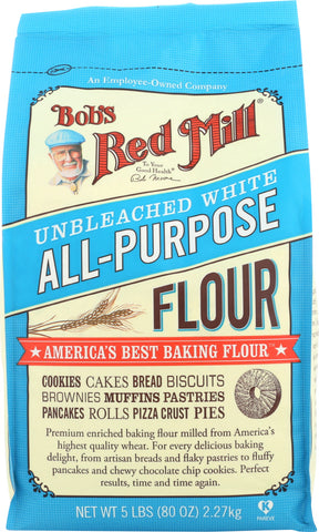 Bob's Red Mill Unbleached White Flour, 5 lb (Pack of 4)