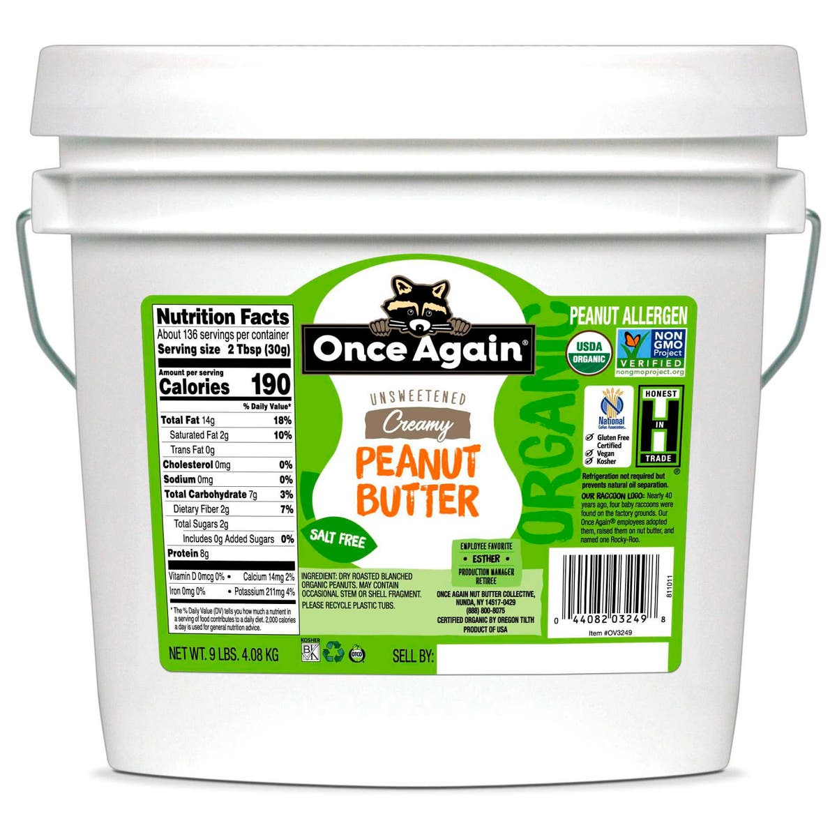 Once Again No Salt Added Creamy Peanut Butter, 9 LB Tub (Pack of 1)
