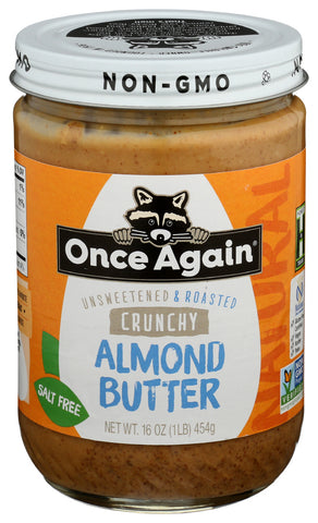 Once Again Unsweetened & Roasted Crunchy Almond Butter, 16 OZ (Pack of 6)