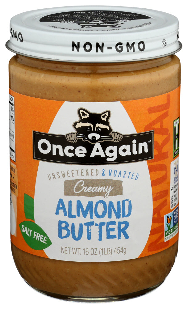 Once Again Natural Creamy Almond Butter 16 oz, (Pack of 6)