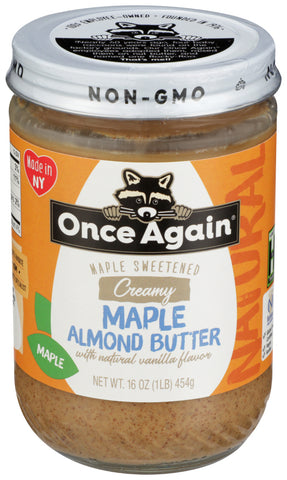 Once Again Natural, Maple Almond Butter With Natural Vanilla Flavor, 16 OZ (Pack of 6)