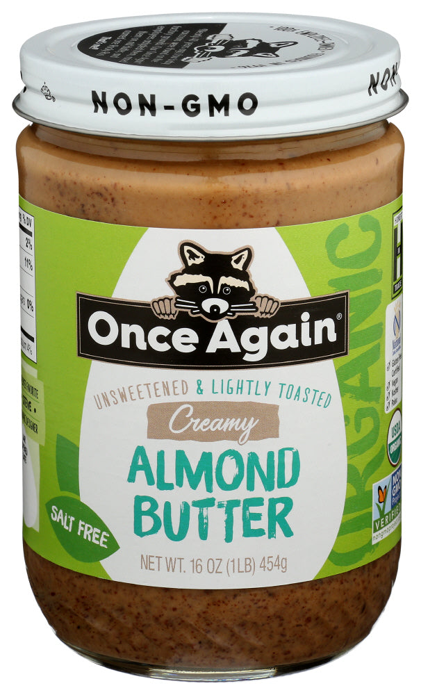 Once Again Unsweetened & Lightly Toasted Creamy Almond Butter, 16 OZ (Pack of 6)