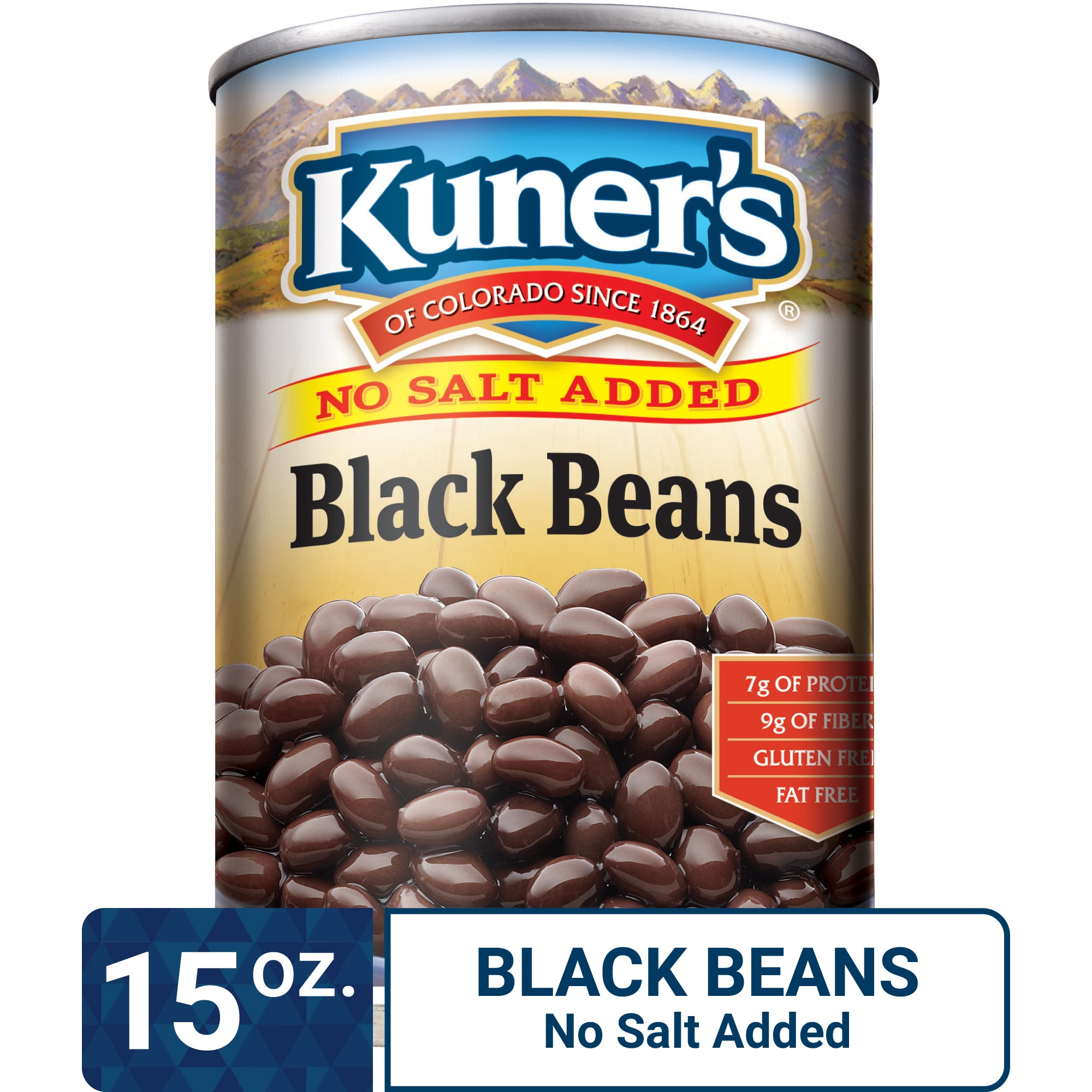 Kuner's Black Beans No Salt Added, 15oz (Pack of 12)
