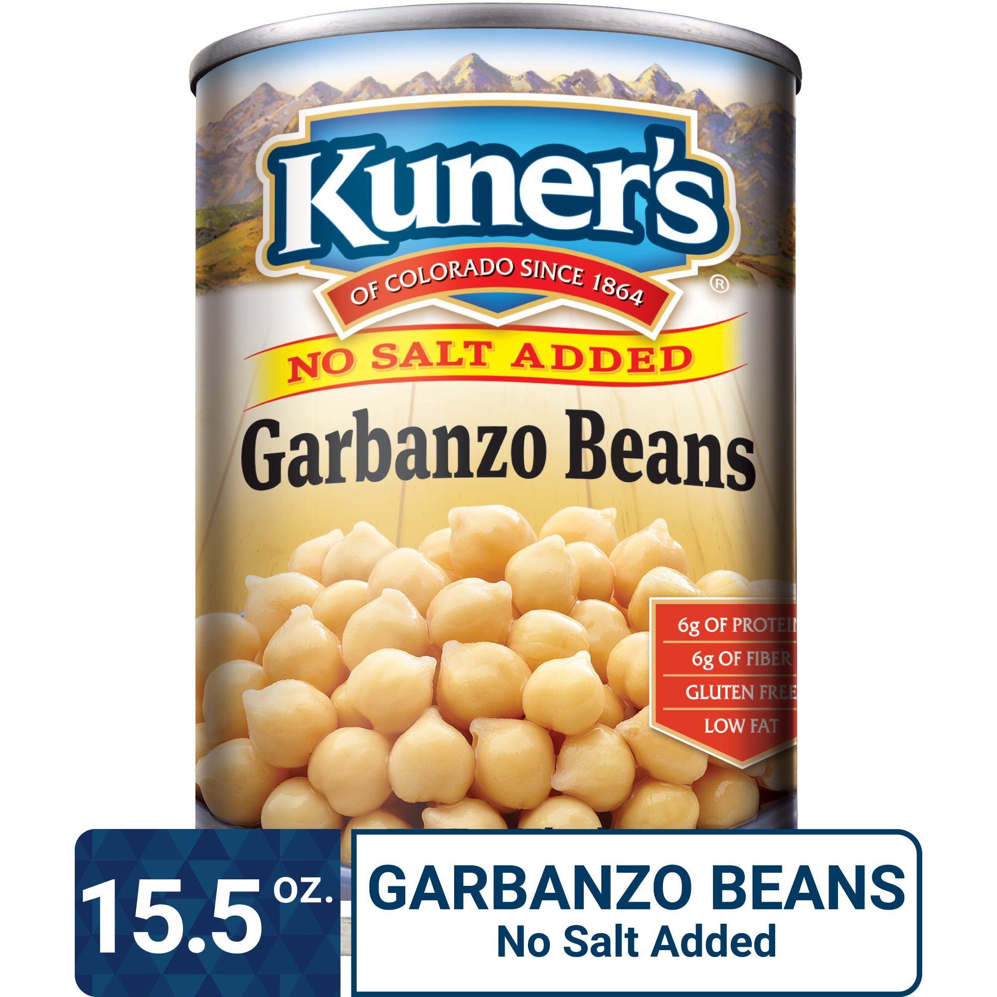 Kuner's Garbanzo Beans No Salt Added, 15.5oz (Pack of 12)