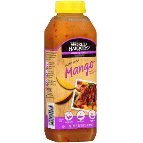 World Harbors Island Mango Sauce & Marinade 16 Oz Squeeze (Pack of 6)