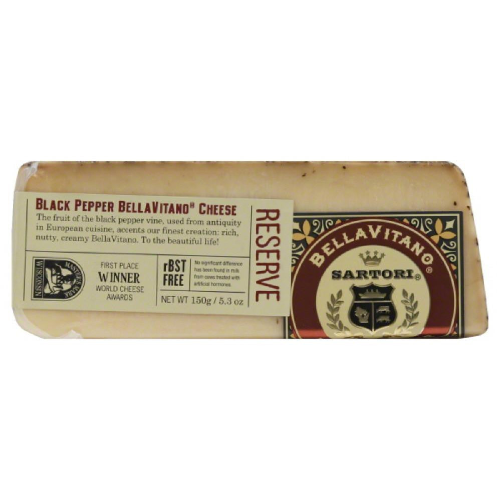 Sartori Black Pepper BellaVitano Cheese, 5.3 Oz (Pack of 12)