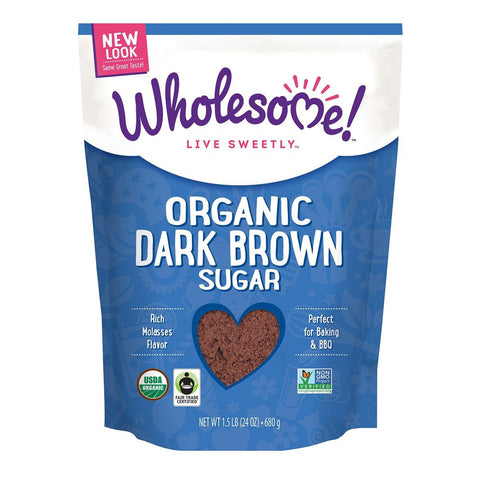 Wholesome Sweeteners Dark Brown Organic Sugar, 1.5 Lb (Pack of 6)