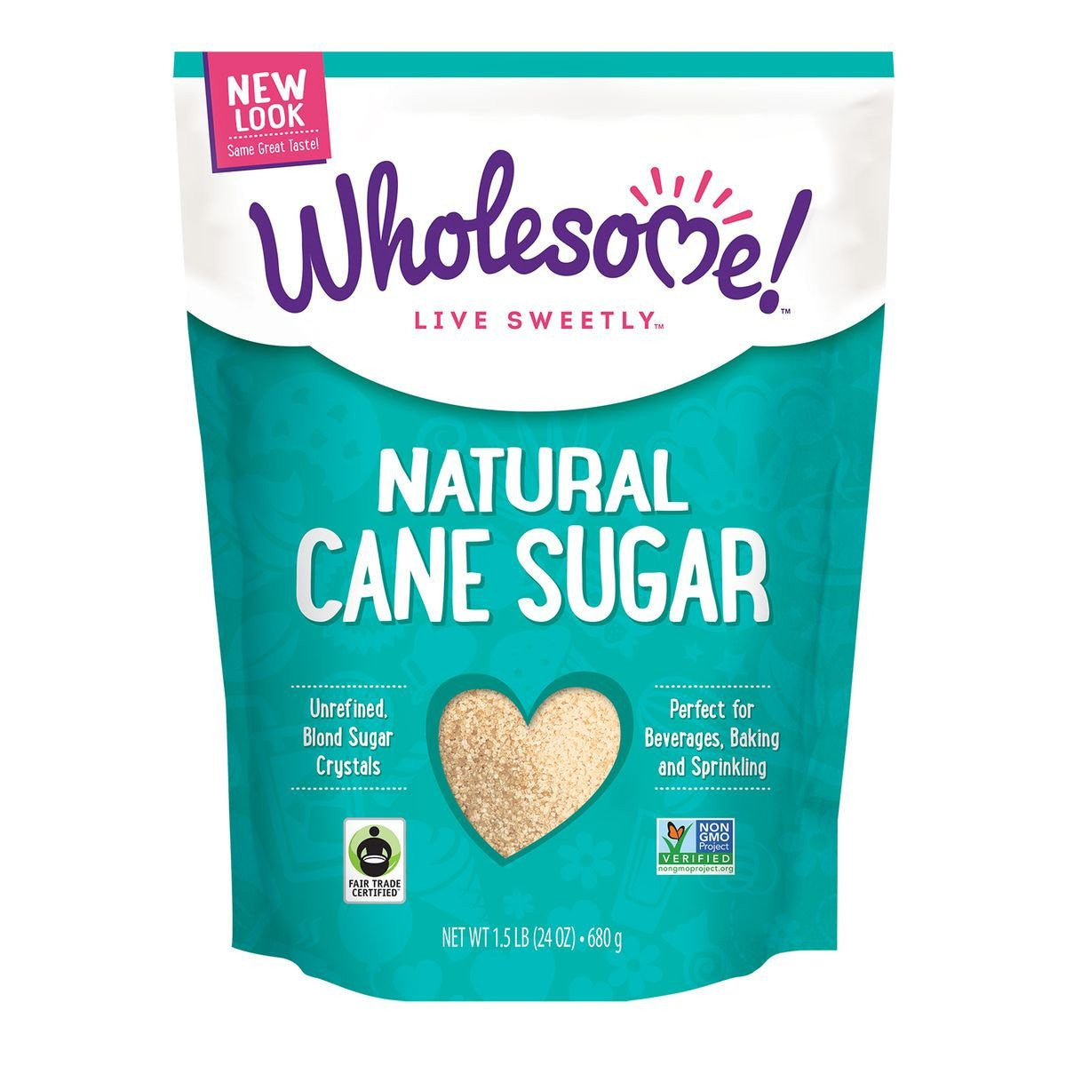 Wholesome Sweeteners Natural Cane Sugar, 24 Oz (Pack of 12)