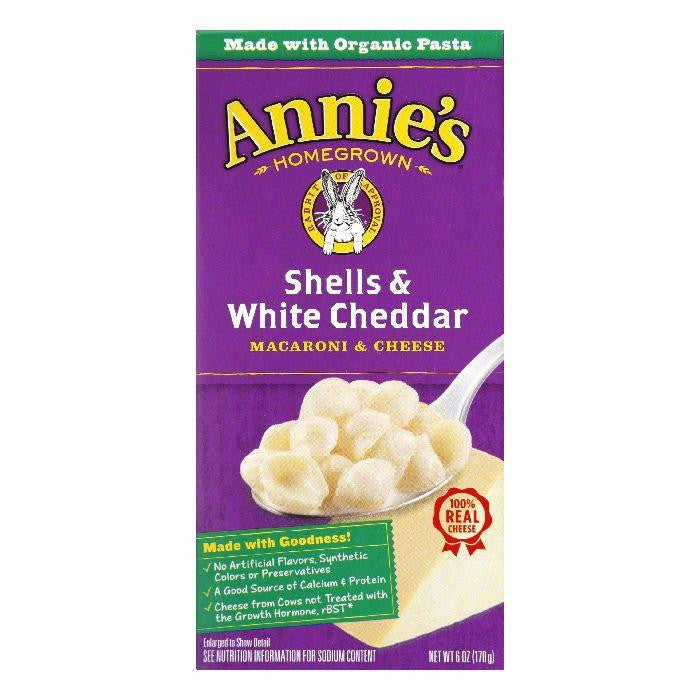 Annies Homegrown Organic ShellS&White Cheddar, 6 OZ (Pack of 12)