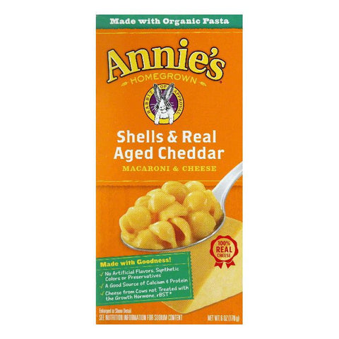 Annies Homegrown Shells & Real Aged Wisconsin Cheddar, 6 OZ (Pack of 12)