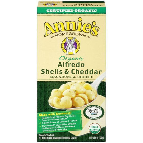 Annie's Homegrown Organic Alfredo Shells & Cheddar Macaroni & Cheese 6 Oz (Pack of 12)