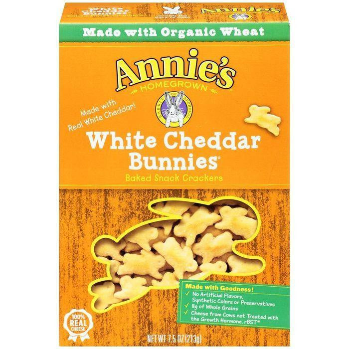 Annie's Homegrown White Cheddar Bunnies Baked Snack Crackers 7.5 Oz (Pack of 12)