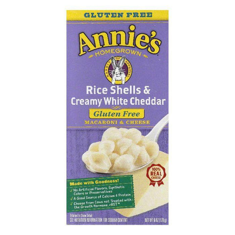 Annies Rice Shells & Creamy White Cheddar Macaroni & Cheese, 6 Oz (Pack of 12)