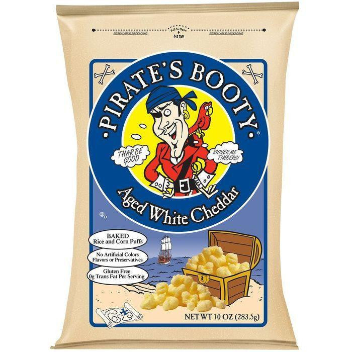 Pirate's Booty Aged White Cheddar Rice and Corn Puffs 10 Oz Bag (Pack of 6)