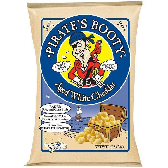 Pirate's Booty Aged White Cheddar Rice and Corn Puffs 1 Oz Bag (Pack of 24)