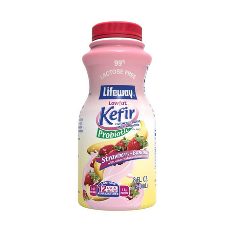Lifeway Strawberry-Banana Lowfat Kefir Cultured Milk Smoothie, 8 Oz (Pack of 6)