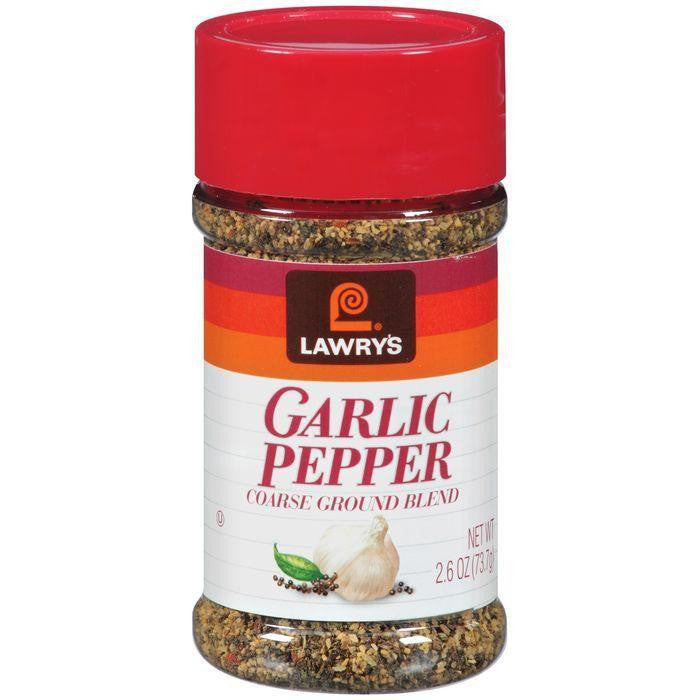 Spice & Seasoning Garlic Pepper Coarse Ground Blend Lawry's Seasoning 2.6 Oz Shaker (Pack of 12)