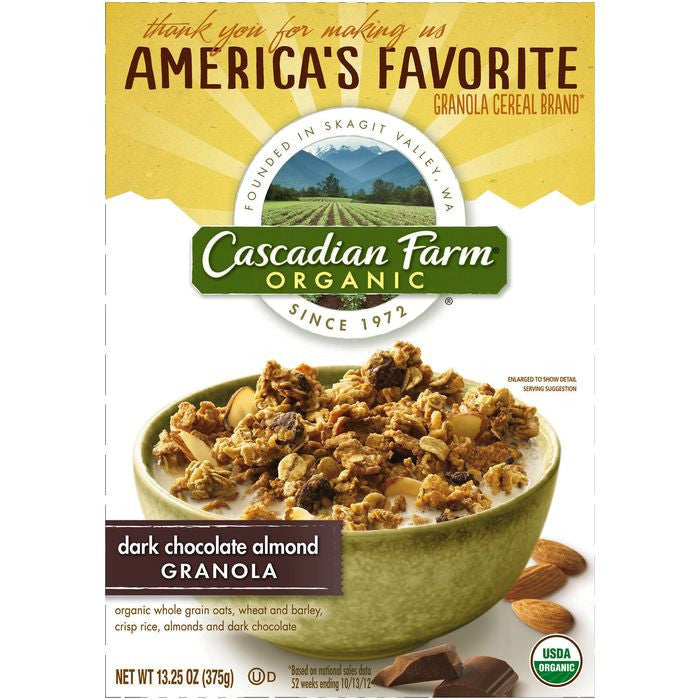 Cascadian Farm Organic Dark Chocolate Almond Granola 13.25 Oz (Pack of 6)