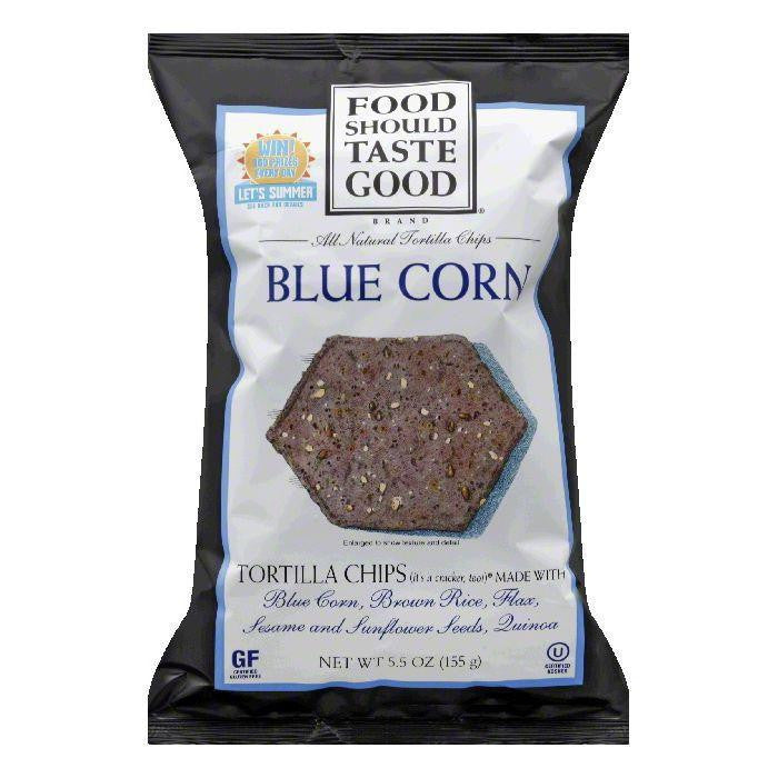Food Should Taste Good Chip Tortilla Blue Corn, 5.5 OZ (Pack of 12)