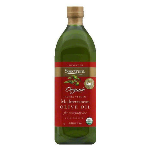 Spectrum Olive Oil Mediterranean Extra Virgin Organic Unrefined, 33.8 OZ (Pack of 6)