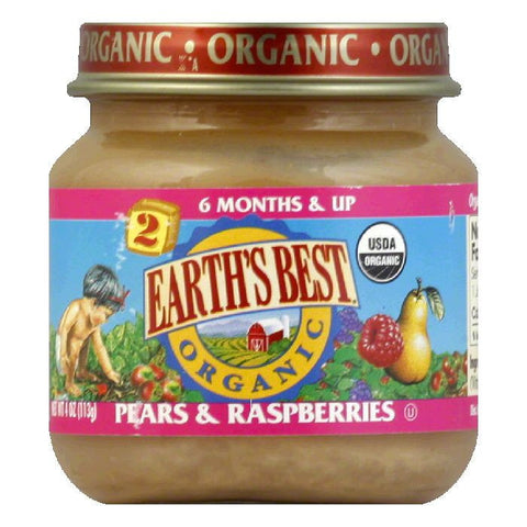 Earth's Best Pears & Raspberries, 4 OZ (Pack of 12)