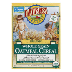 Earth's Best Cereal Whole Grain Oatmeal, 8 OZ (Pack of 12)