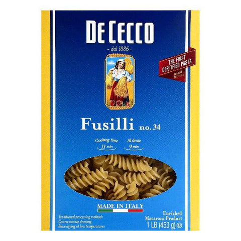 De Cecco No. 34 Fusilli, 1 lb (Pack of 12)