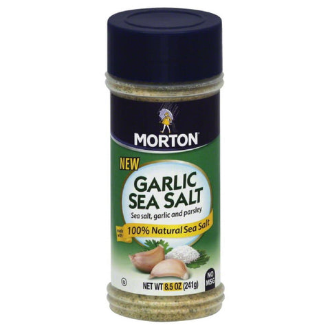 Morton Garlic Sea Salt, 8.5 Oz (Pack of 12)