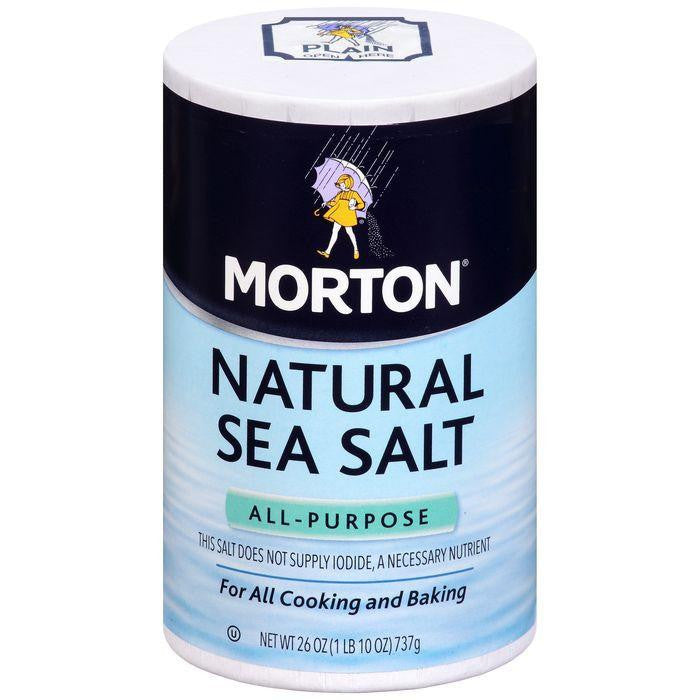 Morton All-Purpose Natural Sea Salt 26 Oz Pour Spout (Pack of 12)