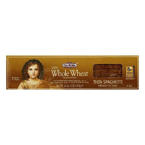 Gia Russa 100% Whole Wheat 1 Thin Spaghetti, 16 OZ (Pack of 20)