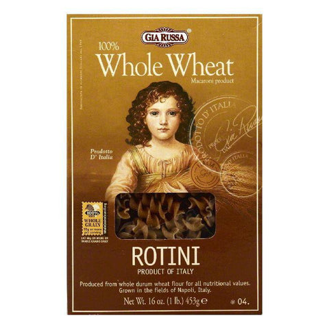 Gia Russa 4 100% Whole Wheat Rotini, 16 OZ (Pack of 12)