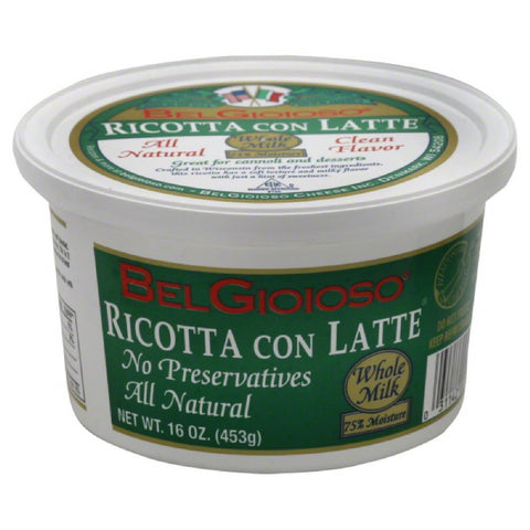 BelGioioso Ricotta Con Latte Whole Milk, 16 Oz (Pack of 6)