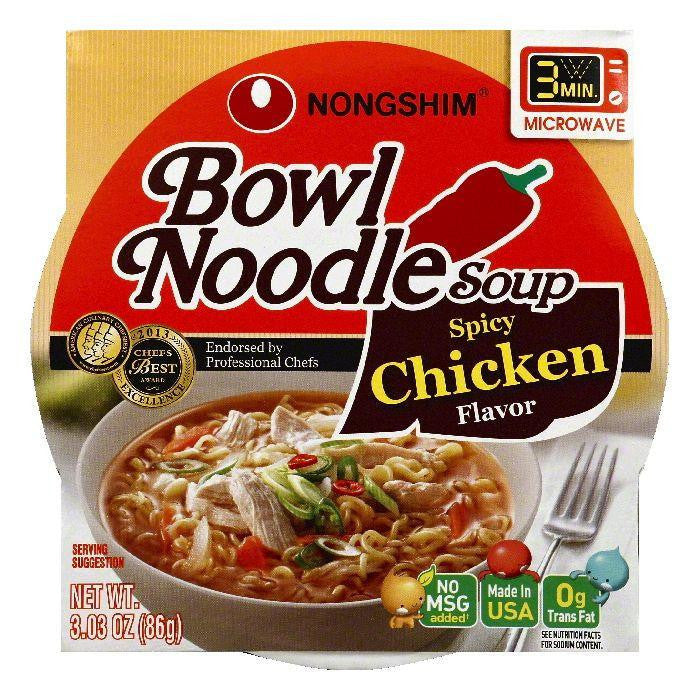 Nongshim Spicy Chicken Flavor Bowl Noodle Soup, 3.03 OZ (Pack of 12)