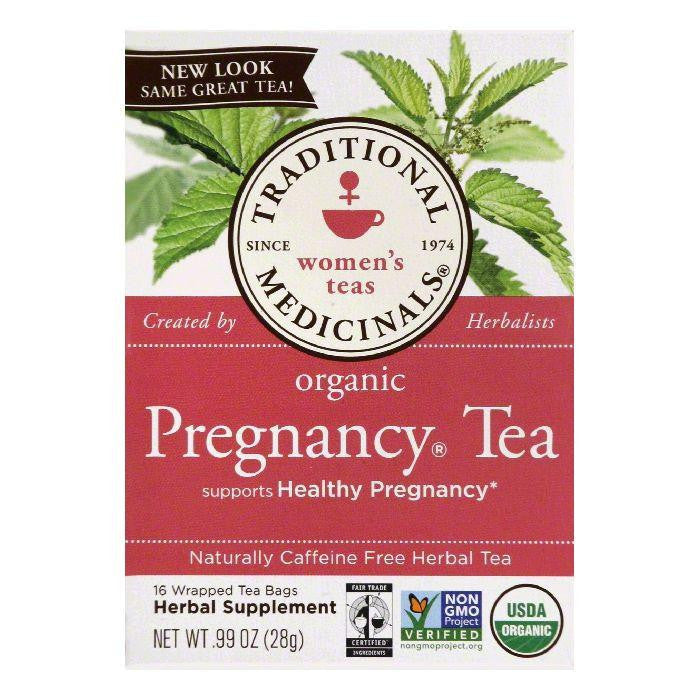 Traditional Medicinals Wrapped Bags Naturally Caffeine Free Pregnancy Organic Herbal Tea, 16 ea (Pack of 6)