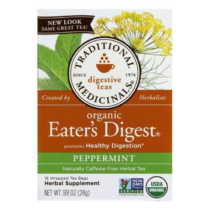 Traditional Medicinals Wrapped Bags Peppermint Naturally Caffeine Free Eater's Digest Organic Herbal Tea, 16 ea (Pack of 6)