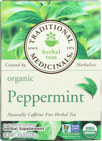 Traditional Medicinals Organic Peppermint Herbal Tea, 16 Bg (Pack of 6)