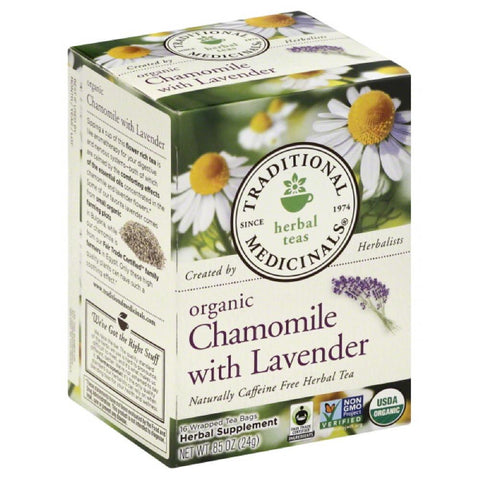 Traditional Medicinals Chamomile with Lavender Naturally Caffeine Free Herbal Tea Tea Bags, 16 Bg (Pack of 6)