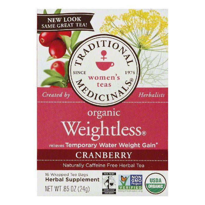 Traditional Medicinals Wrapped Bags Naturally Caffeine Free Cranberry Weightless Organic Herbal Tea, 16 ea (Pack of 6)
