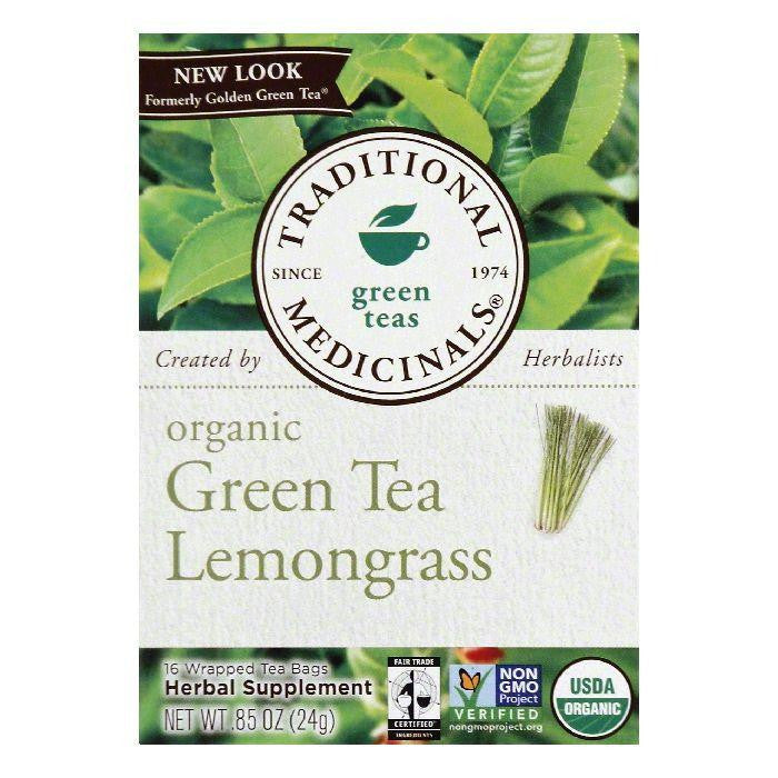 Traditional Medicinals Wrapped Bags Lemongrass Organic Green Tea, 16 ea (Pack of 6)