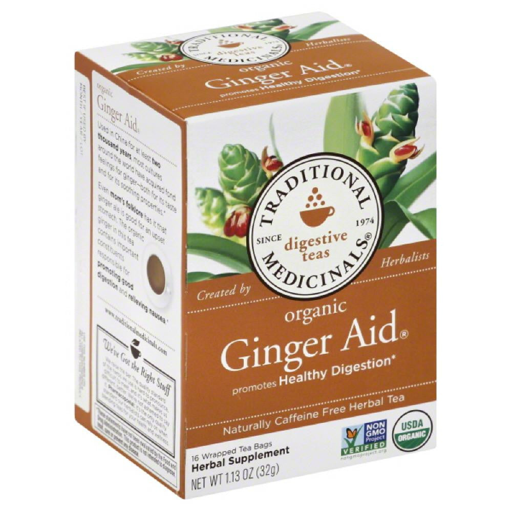 Traditional Medicinals Ginger Aid Naturally Caffeine Free Herbal Tea Tea Bags, 16 Bg (Pack of 6)
