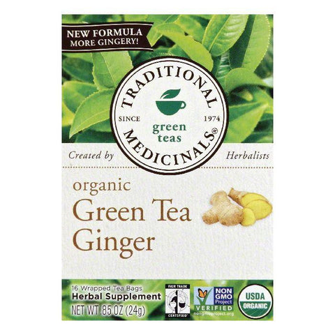 Traditional Medicinals Wrapped Bags Ginger Organic Green Tea, 16 ea (Pack of 6)