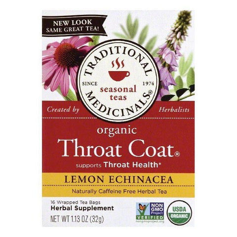 Traditional Medicinals Wrapped Tea Bags Lemon Echinacea Organic Throat Coat Herbal Tea, 16 ea (Pack of 6)