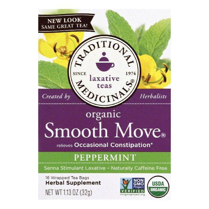 Traditional Medicinals Smooth Move Peppermint Senna Stimulant Laxative Tea, 16 BG (Pack of 6)