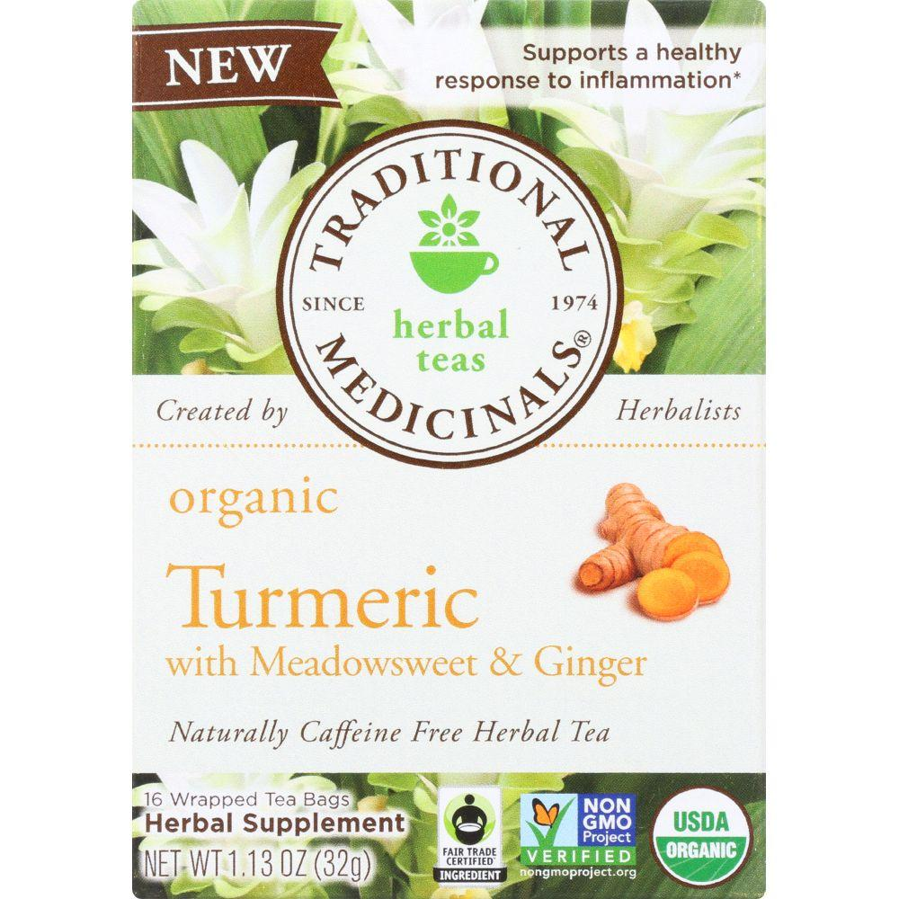 Traditional Medicinals Organic Turmeric With Meadowsweet Ginger Herbal Tea, 16 Bg (Pack of 6)