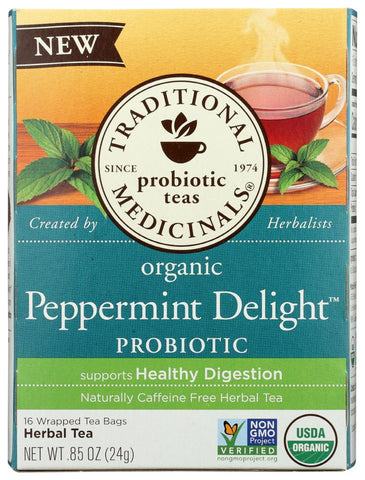 Traditional Medicinals Organic Peppermint Delight Probiotic Herbal Tea, 16 Bg (Pack of 6)