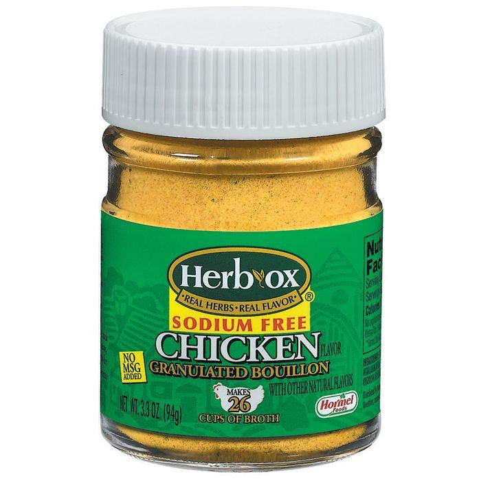 HERB-OX Granulated Chicken Sodium Free Bouillon 3.3 OZ (Pack of 12)