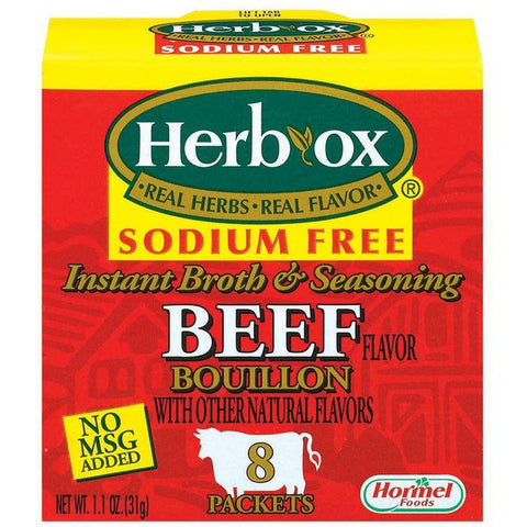 HERB-OX Beef Instant Broth & Seasoning Sodium Free 8 Ct Bouillon Packets 1.1 OZ (Pack of 12)