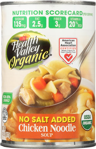 Health Valley No Salt Added Organic Chicken Noodle Soup, 15OZ (Pack of 12)