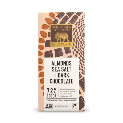 Endangered Species Chocolate, Almonds Sea Salt + Dark Chocolate, 72% Cocoa, 3 oz (Pack of 12)