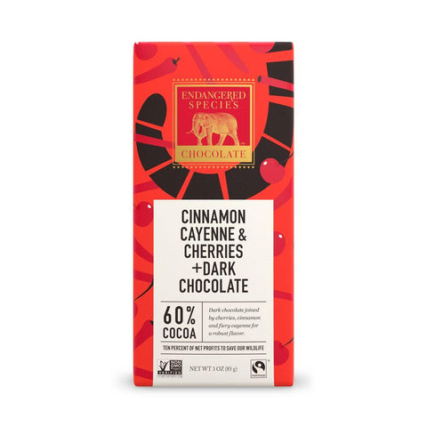 Endangered Species Chocolate, Cinnamon Cayenne & Cherries + Dark Chocolate, 60% Cocoa, 3 oz (Pack of 12)